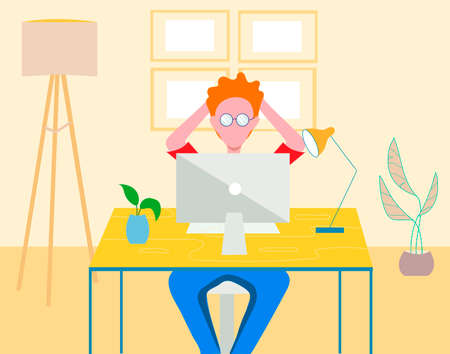 young man in glasses sits at a computer at home. A man is looking at the monitor. Character IT specialist. Flat vector illustration. Vektorgrafik