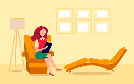 Woman psychologist is sitting in a comfortable chair. Psychologist in the office. Psychological help.