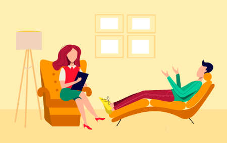 Psychologist's office. A session with a psychologist. The man is lying on the couch, the woman is sitting in the chair. Communication with a psychologist. Vektorové ilustrace