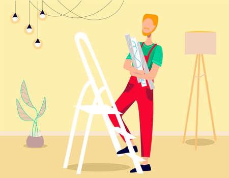 Man glues the wallpaper. The man makes repairs. Flat vector illustration