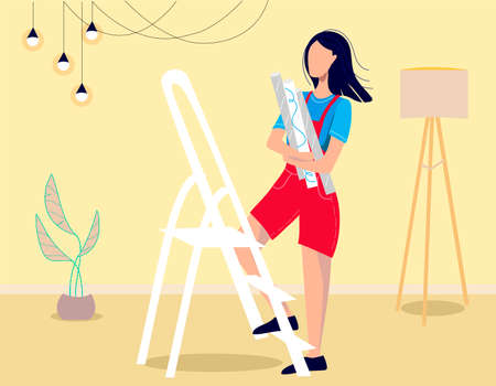 Women with Tools Repair Home. The woman glues the wallpaper. Cartoon People Vector Illustration Illustration