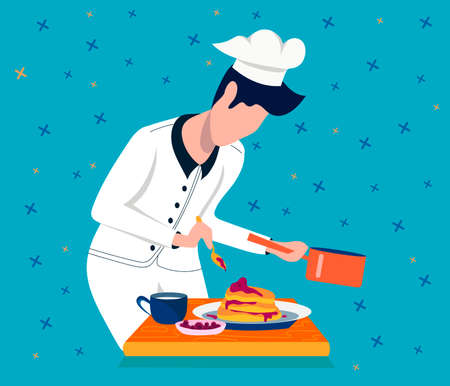 Chef character. The chef prepares breakfast. Flat vector illustration.