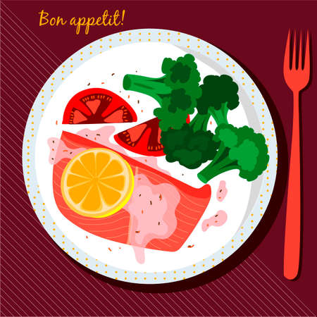 Plate of food. Salmon and broccoli on a plate. Lunch. Vector illustration