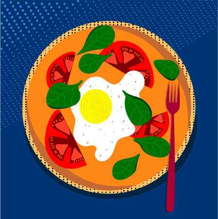 Plate of food. Scrambled eggs on a plate. Tasty breakfast. Flat vector illustration