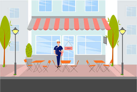 Chef in a suit stands at the entrance to the cafe. Street cafe and chef. Visitor expectation concept. Vector illustration.