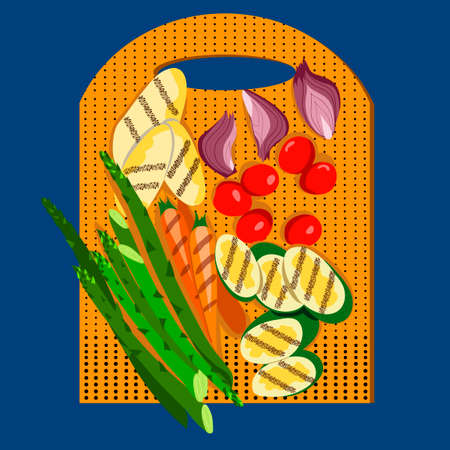 Grilled vegetables. Food on a cutting board. View from above. Vector illustration.