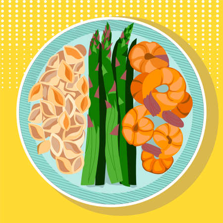 Plate with food, top view. Pasta, shrimp and asparagus. Vector illustration