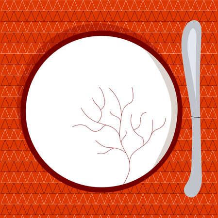 Empty plate. Flat Vector illustration