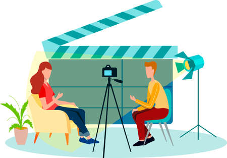 Blogger - man that records video blog. Vlog concept. Man and a woman are talking in front of a video camera. Vector flat illustration.