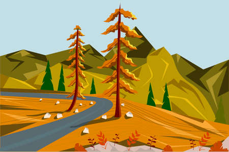 Autumn landscape. Mountain road, two trees and a mountain view from above. Vector illustration