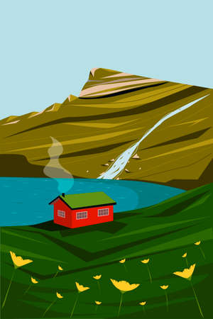Iceland landscape. Postcard with a landscape. Lake and mountains. illustration.