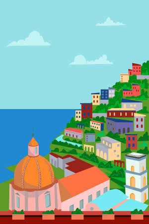 View of the city from above - sea, mountain, architecture. Vector illustration. Picturesque Amalfi coast. Italy Vektorgrafik