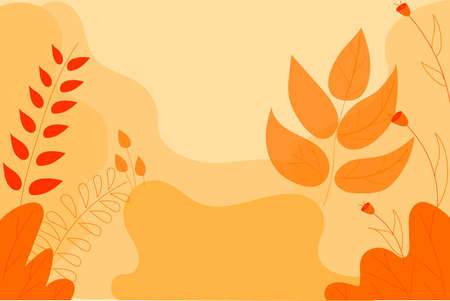 Background with leaves. Yellow-orange background with large leaves and abstract shapes. Vector illustration Иллюстрация