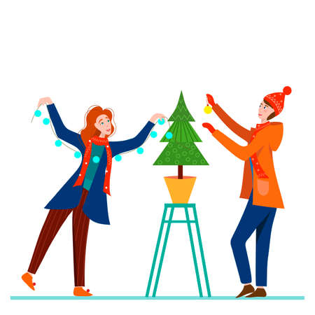 Man and Women decorates a Christmas tree. Cartoon character on a stepladder decorates tall Christmas tree. Conception of approaching New Year and Christmas. Vector illustration.