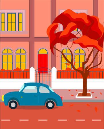 Facade of a house with a car and a tree in the foreground. Autumn. Vector illustration
