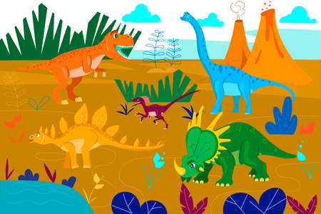 Dinosaurs and nature. Dinosaurs in the middle of the landscape. Cartoon characters. Vector illustration.