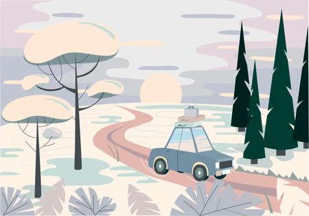 Winter landscape. Road, car, trees. Winter travel. Vector illustration.