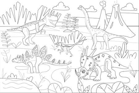 Dinosaurs in their habitat. Dinosaurs in nature. Black and white illustration. Vector illustration.