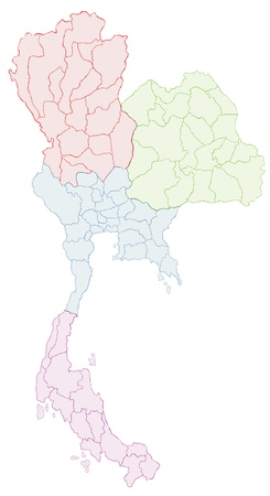 provinces: Thai Map Vector