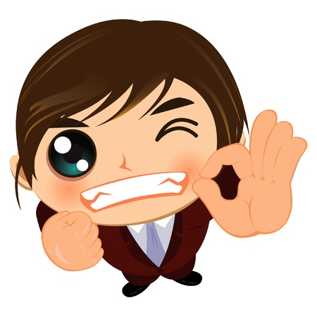 facial gestures: ok gui�o hombre de negocios bien