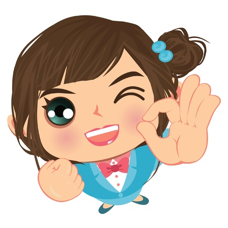 hand showing thumbs up: ok business wink girl okay