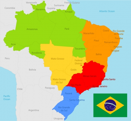 panama: Brazil map and flag