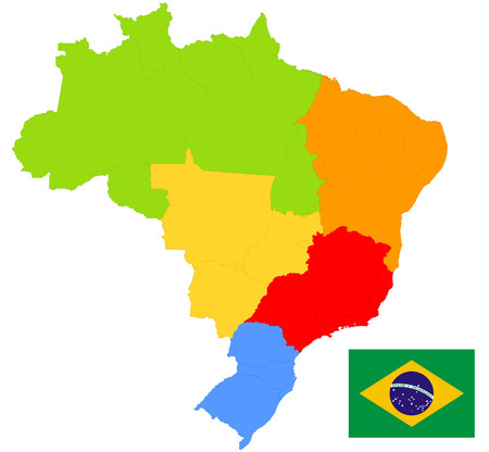 Brazil map and flag Vector