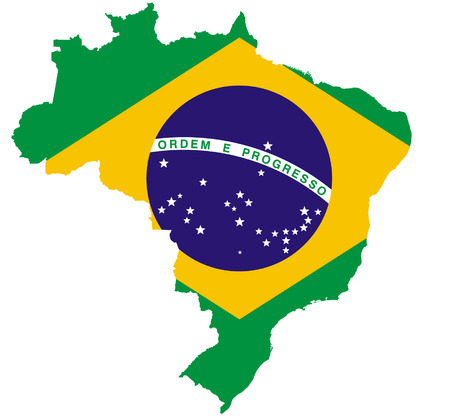 ブラジル地図とのフラグ  イラスト・ベクター素材