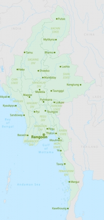 myanmar: Union of Myanmar or Burma map with river Illustration