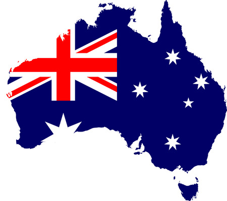sidney: Australia map and flag isolated vector in official colors Illustration