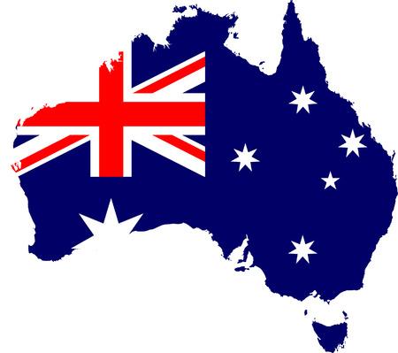 continente americano: Australia mapa y la bandera aislado vector en colores oficiales Vectores
