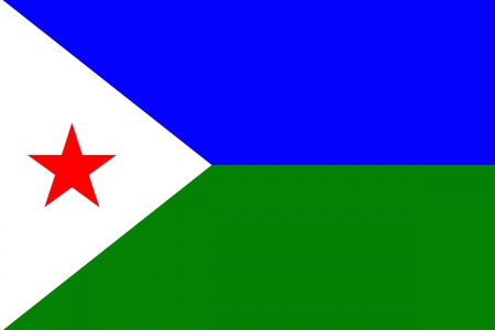 original circular abstract: original and simple Sovereign state flag of country of Djibouti isolated vector in official colors