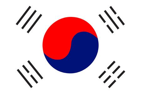 dictature: Cor�e du Sud drapeau vecteur isol� simple et originale en couleurs officielles et proportion correcte Illustration