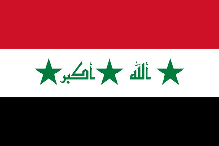 original and simple Iraq flag 2004 – 2008 isolated vector in official colors and Proportion Correctly Vector