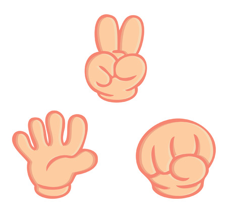 岩紙はさみゲームの分離ベクトル白い背景の上の手の記号