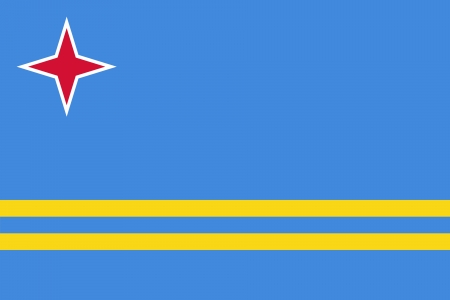 original and simple Aruba flag isolated vector in official colors and Proportion Correctly Illustration