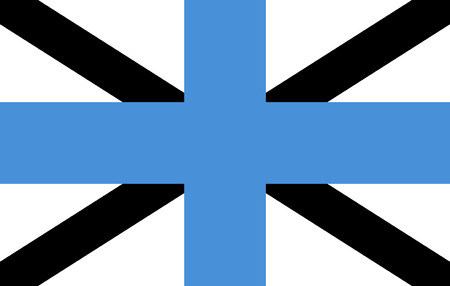 correctly: original and simple Estonia Naval jack flag isolated vector in official colors and Proportion Correctly