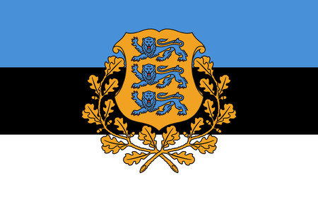 proportion: original and simple Estonia Presidential flag  on land  isolated vector in official colors and Proportion Correctly