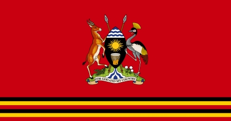 original and simple Uganda Presidential Standard flag isolated vector in official colors and Proportion Correctly Vector