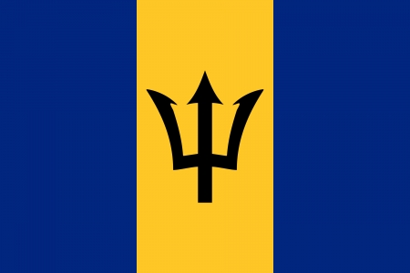 correctly: original and simple Barbados flag isolated vector in official colors and Proportion Correctly