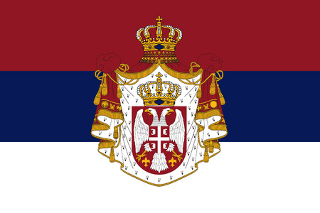 correctly: original and simple Serbia State of The Kingdom flag isolated vector in official colors and Proportion Correctly Illustration