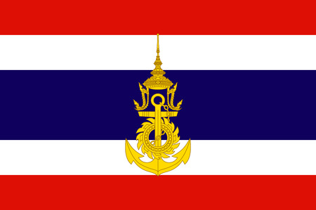 original and simple Thailand Naval Jack Flag isolated vector in official colors and Proportion Correctly