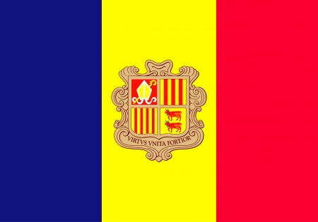 correctly: original and simple The Principality of Andorra flag isolated vector in official colors and Proportion Correctly Illustration