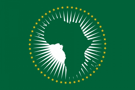 original and simple African Union  AU  flag isolated vector in official colors and Proportion Correctly