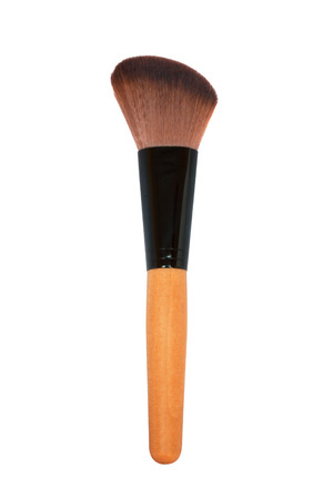 red brown make up brush with a wooden handle retouched and isolated on white background