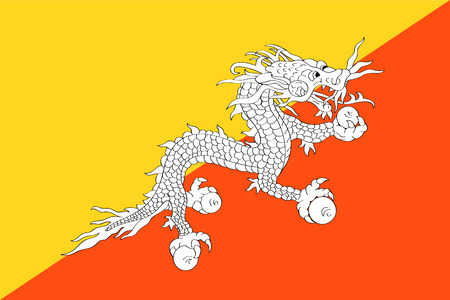 tricolour: original and simple The Kingdom of Bhutan flag isolated vector in official colors and Proportion Correctly