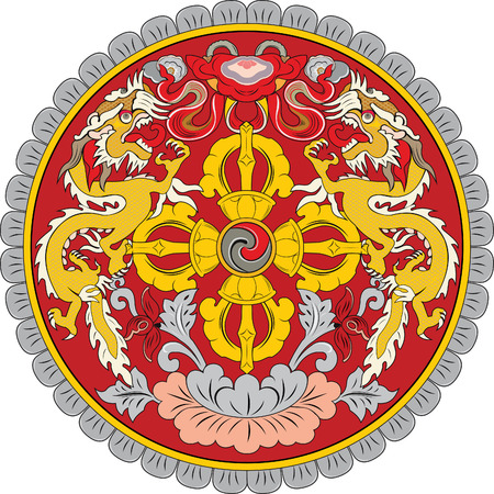 correctly: original and simple Bhutan Emblem isolated vector in official colors and Proportion Correctly Illustration