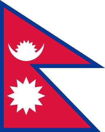 landlocked country: La Rep�blica Federal Democr�tica de Nepal aislado vector bandera original y simple en colores oficiales y Proporci�n correctamente