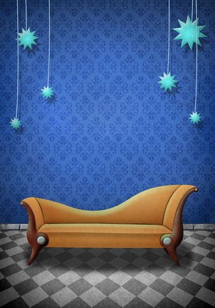 upholstered: Beautiful Illustration of a scene with a brown sofa