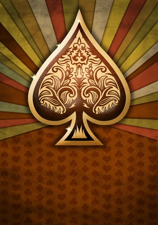 poker cards: Abstract background with poker spade Stock Photo